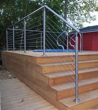 stainless steel cable railing: cheaper than wooden posts?? Looks cheaper..