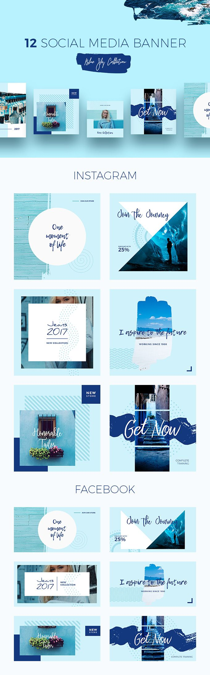 12 Blue Sky Social Media Templates - Refresh your Facebook, Instagram or Pinterest page with a set of eye-catching templates in blue colors and attract more passionate users to your source. Lifestyle, fashion, product advertising, online stores will get a totally new look thanks to an aqueous color scale, revealing your sweetest memories about the summer and vacation by the ocean.