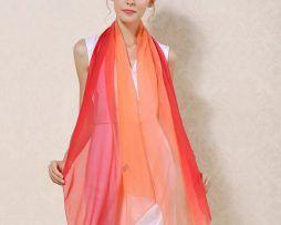 Luxusný hodvábny šál červeno-oranžovej farby, rozmer 185 x 68 cm ,,