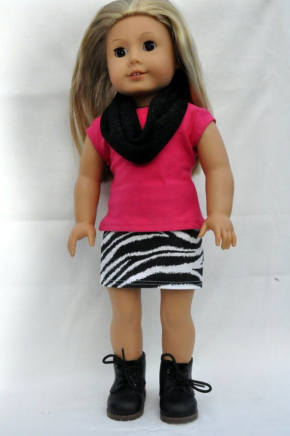 American Girl Doll Clothes Zebra Print Mini Skirt Pink T Shirt And Infinity Scarf 18 Inch Mini