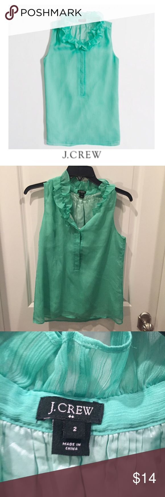 J. Crew Ruffle Collar Green Cami J. Crew Ruffle Collar Green Cami. Half button. 16.5 inch bust. Lined. 24 inches long. Gently worn. Great condition. Feel free to make an offer or bundle & save. J. Crew Tops Blouses