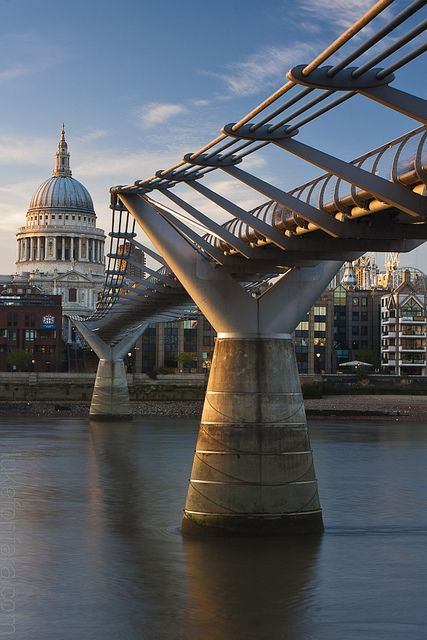The Millenium Bridge leading on to St Pauls Cathedral, London, England Architecture Travel