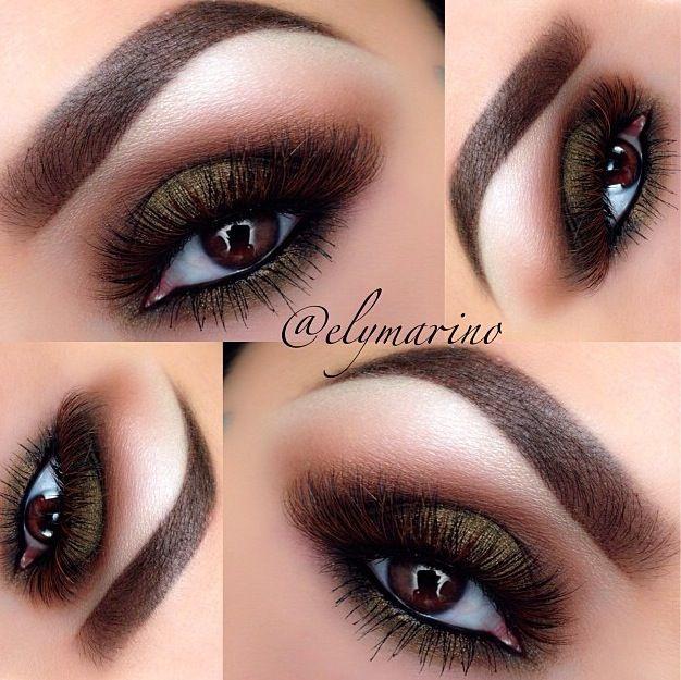 Super Sexy Greenish Brown Smokey eye by @ElyMarino