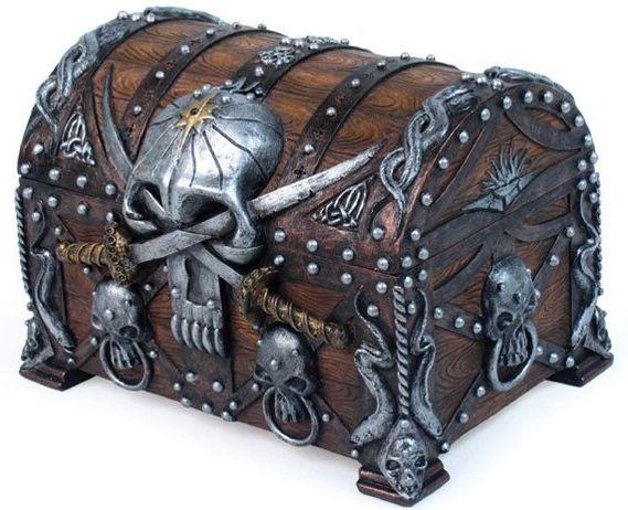 Jewelry Box Chest Crossed Blades Pirate Skull Bucaneer Statue Figurine Treasure