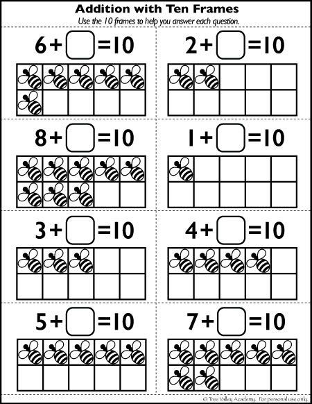 Free Math Printables.  Addition with 10 frames.  Learning number bonds of 10.