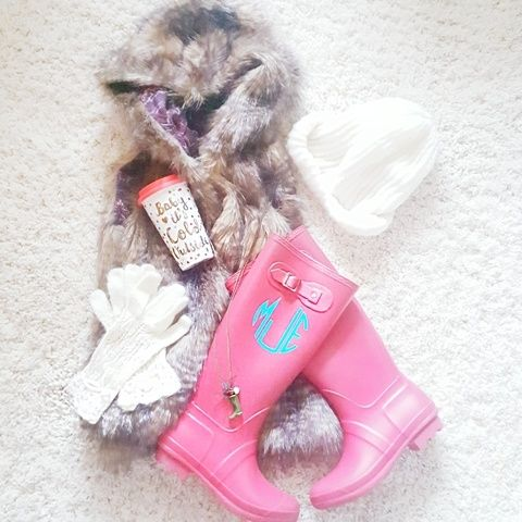 Faux fur vest baby it's cold outside mug knit gloves knit hat cream gloves cream beanie rain boots monogram rain boots red rain boots   Click image or shop at https://go2b.uy/%40werethejoneses/3