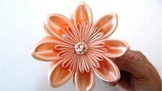 Moños flor doble pétalos rellenos en cintas para el cabello - YouTube