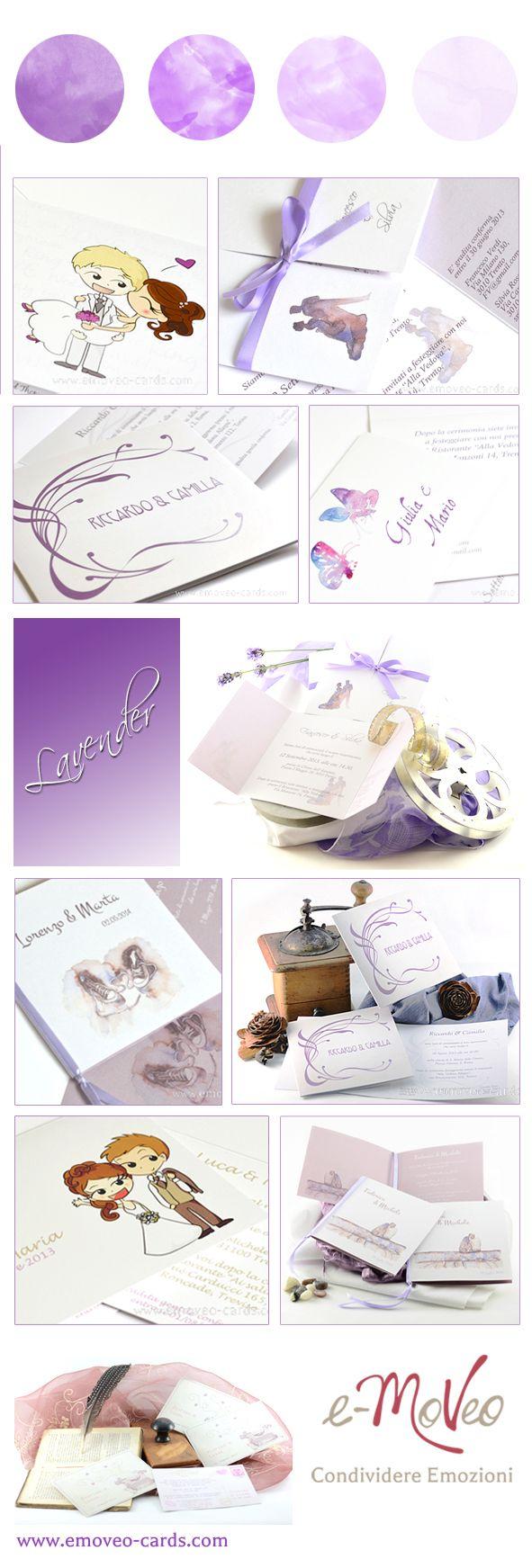 Lavender wedding inspiration: wedding cards in lavender / lilac Matrimonio color lavanda: idee per partecipazioni in color lilla / lavanda Hochzeit in Lavendel: Hochzeitseinladungen in Lavendel www.emoveo-cards.com