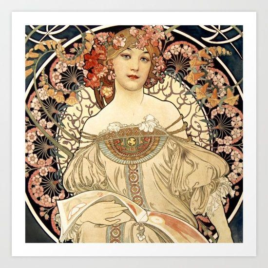 Art Nouveau print. #artnouveau #famousartists #artoftheworld #nouveau #new #art #AlphonseMucha #famouspaintings #artcollection #gallery