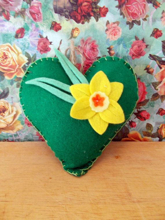Felt Hanging Heart Decoration Mothers Day gift A by Lilmacdesigns