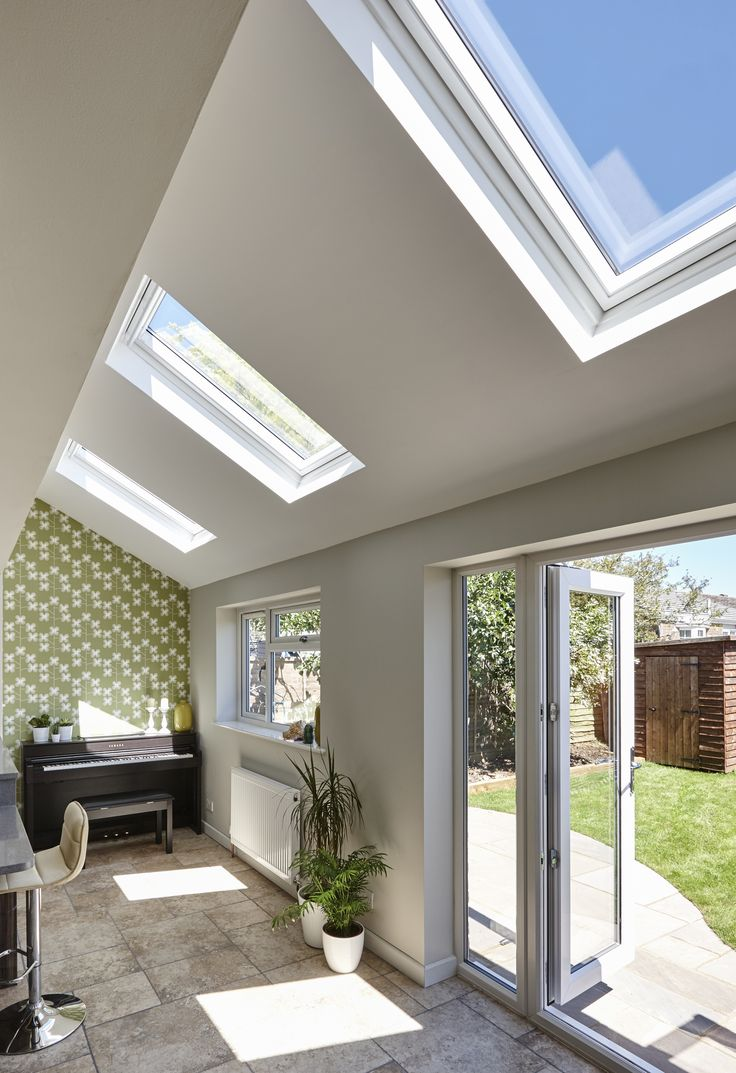 A successful home extension with lots of windows. There are no dark cornerrs in this gorgeous room.