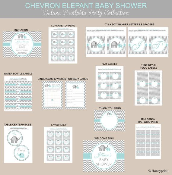 Chevron Blue and Gray Elephant Baby Shower by Honeyprint on Etsy, $35.00