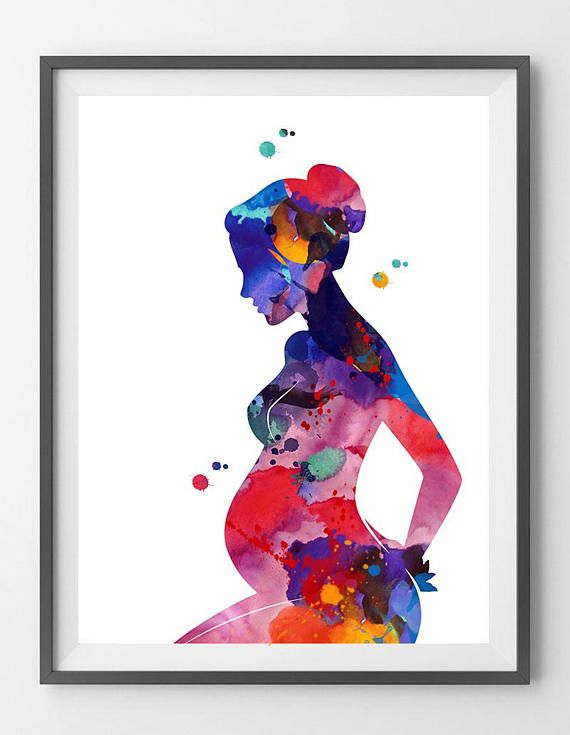 Pregnancy Painting Print Pregnant Woman Watercolor Poster