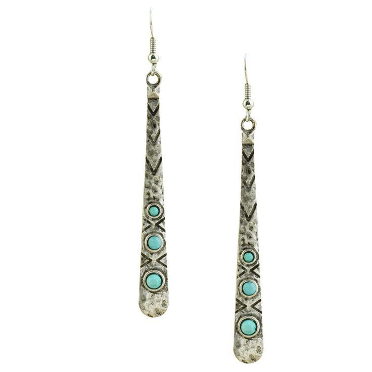 Yeni moda takı bağbozumu takı gümüş antika kadınlar için kaplama turkuaz bar dangle küpe hediye kız toptan E3170