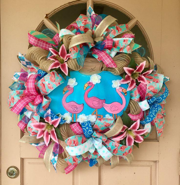 Flamingo wreath, Pink Flamingo wreath, Beach wreath, Summer wreath, Flamingo decor, Coastal Fall wreath, Coastal decor beach, Coastal wreath by AmeliasWreathsofJoy on Etsy