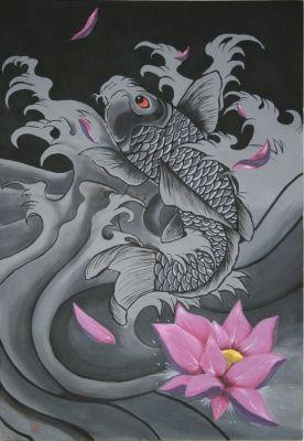 Les 15 meilleures images du tableau inspiration tatoo for Recherche carpe koi donner