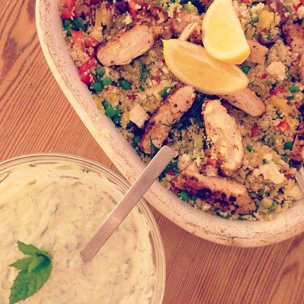 Greek chicken with couscous salad and tzatziki Jamies 15 min meals