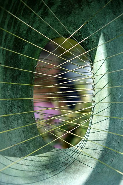 """Criss Cross: """"A close up of one of the many sculptures on display in the Barbara Hepworth Garden at St Ives. Her work looked amazing amongst the garden plants, trees and flowers."""" by The Green Album flickr stream"""