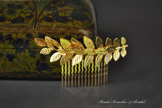 Large Gold Leaf Hair CombGold Plated Hair by BeadsBroochesBridal