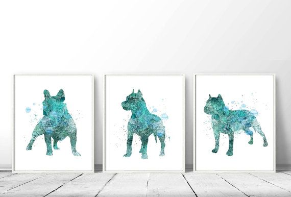 SET of Three Watercolor Art Prints, Pitbull Painting, Home Wall Décor, Dogs Art Printable, Pitbull Printable, Childrens Room Decor