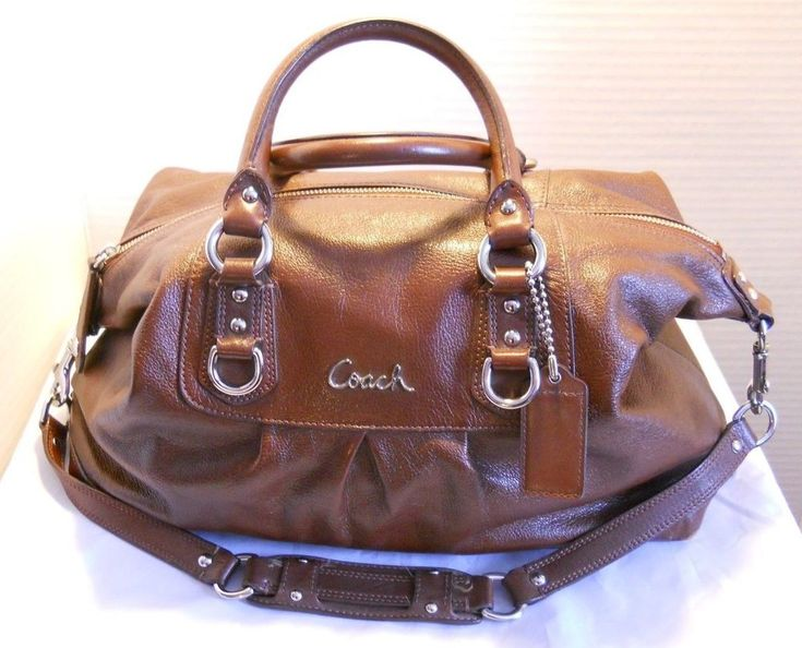 Coach F15447 Ashley BROWN Leather purse Satchel handbag satchel convertible LRG #Coach #SatchelCrossbodyHandbagShoulderBag