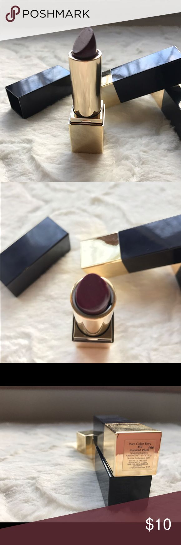 Estée Lauder insolent plum lipstick Authentic Estée Lauder Insolent Plum lipstick. New. A few nicks in the lipstick but never used. Keywords: women's, gifts, fashion, trendy, unique, New, nwt, boutique, free gift, engagement, wedding, bling, special occasion, vacation, free Shipping, makeup, eyes, lips Estee Lauder Makeup Lipstick