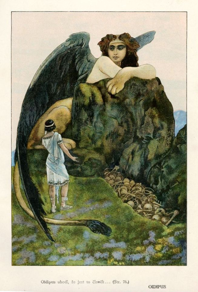 : Artuš Scheiner, Oedipus (Oidipus) - Illustration from František Ruth´s Ancient Fairy-Tales; published by Šolc & Šimáček Inc. in Prague; third edition 1920