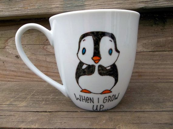 Ahhhhh I loves it!     LOOK ON BACK When I Grow Up I Wanna Kill Batman Penguin Double Sided Coffee Mug Tea Cup. $14.00, via Etsy.