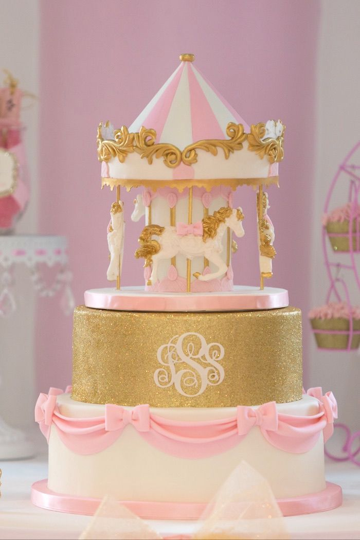 Cake from a Pink Carousel Birthday Party via Kara's Party Ideas! KarasPartyIdeas.com (43)
