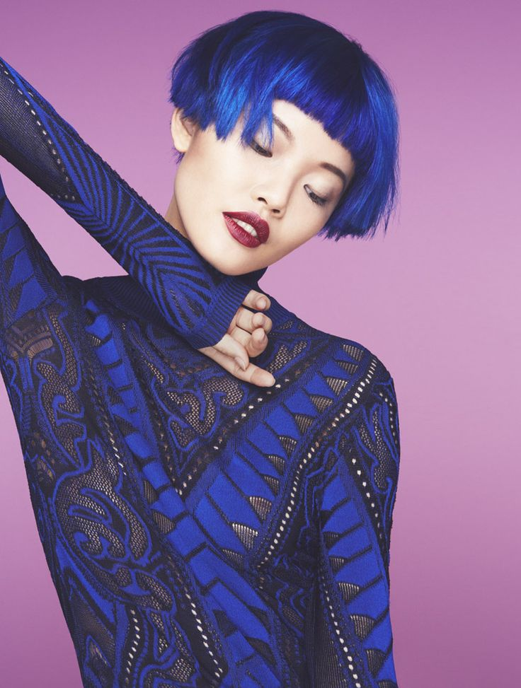 Vibrant royal blue #AvedaColor by Ian Michael Black for American Salon magazine.