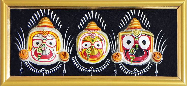Face of Jagannath, Balaram and Subhadra on a Hand Painted Black Frame - Wall Hanging (Stone Dust))