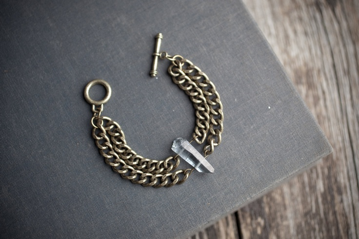 Jewelry/Bracelet - From my new collection! ''Spectrum'' Double brass chain bracelet with grey quartz point and toggle clasp. $38.00, via Etsy.