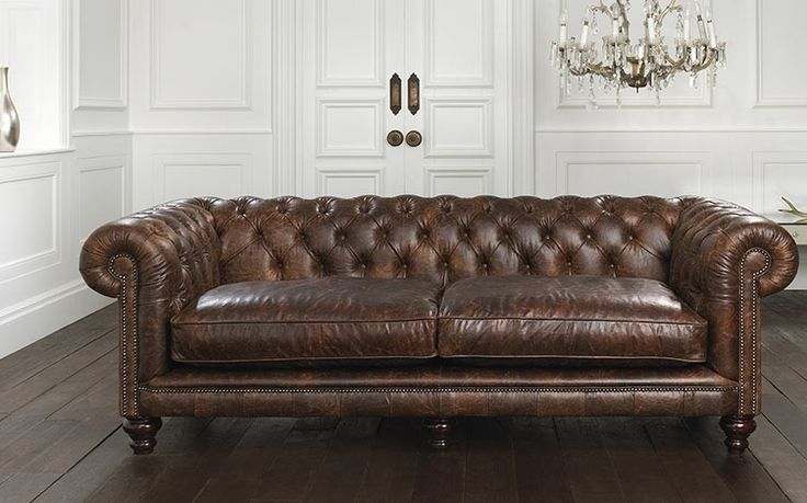 Brown chesterfield sofa: