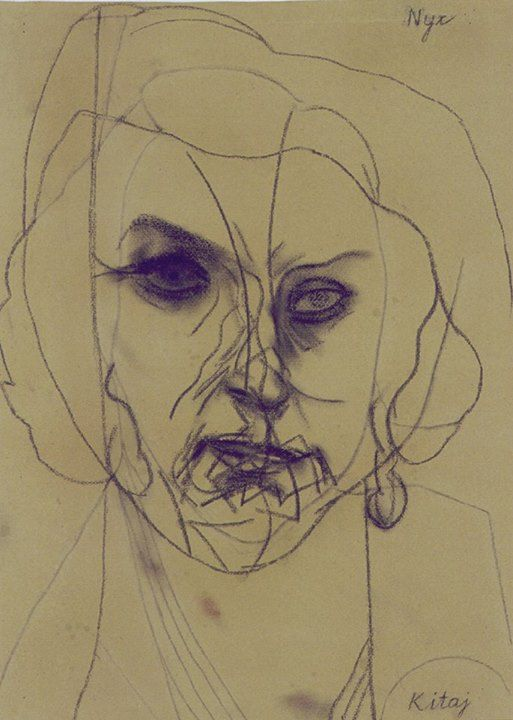 R.B. Kitaj NYX (Goddess of Night), 1997-99 charcoal on paper 30 1/2 x 20 1/2 private collection