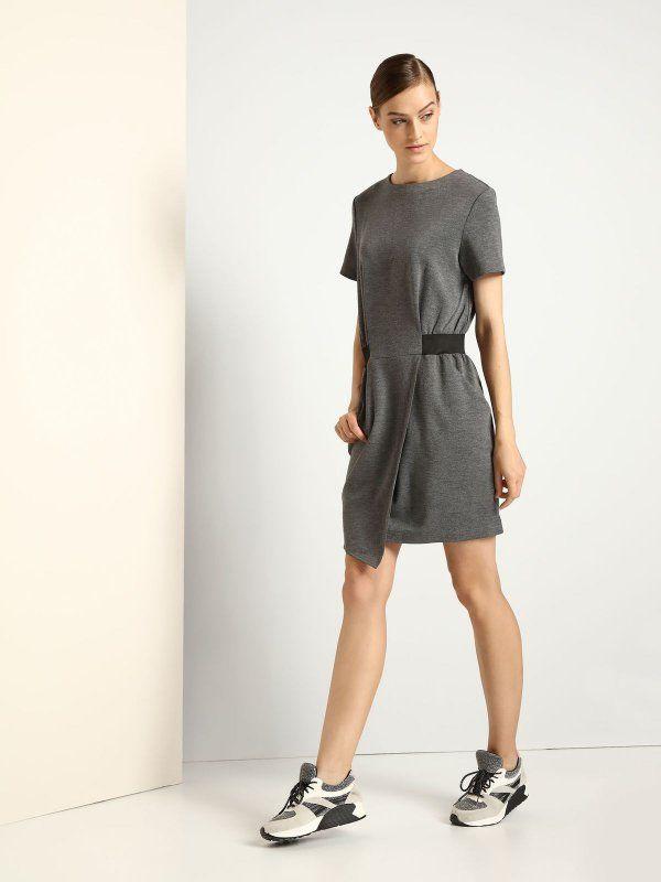 sukienka damska  jasnoszara - DSU0059 DRYWASH