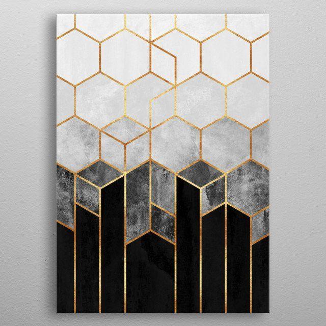 Charcoal Hexagons Poster Print By Elisabeth Fredriksson Displate Hexagon Wallpaper Hexagon Canvas Hexagon