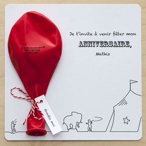 Invitation sur le thème du cirque avec un ballon à gonfler pour connaître la date de la fête