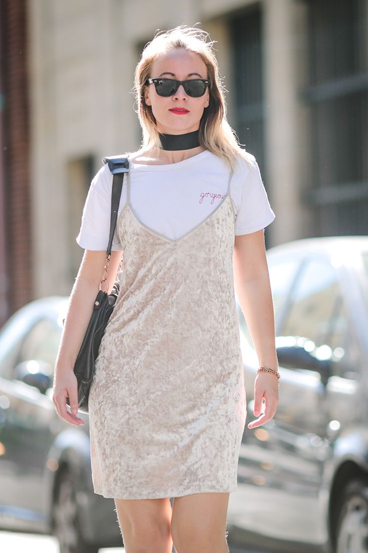 Street-style wins: Amelia Lloyd wears an off-white velvet dress over a white T-shirt. And looks magic.