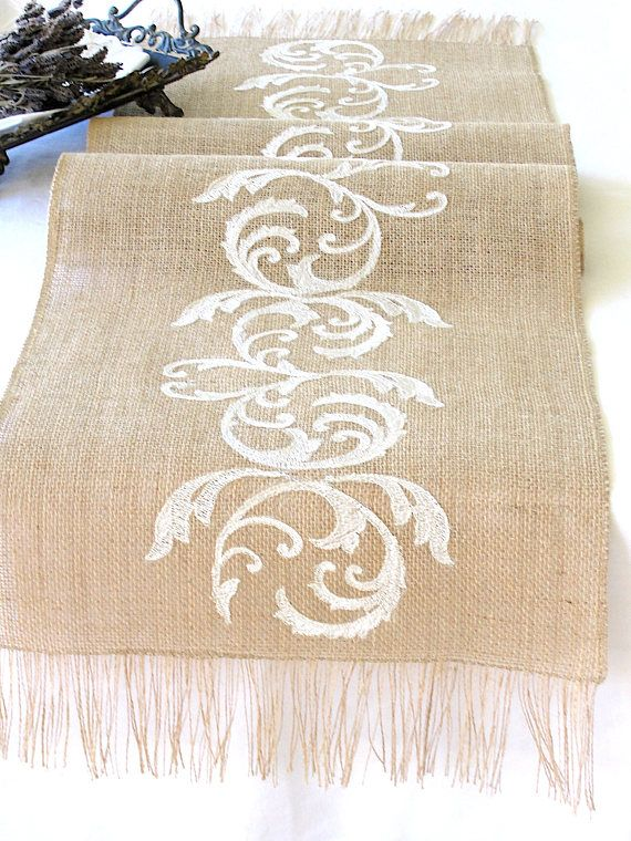 Natural Burlap Table Runner Wedding Table Runner with Ivory
