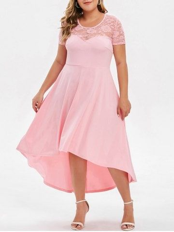 Plus Size High Low Lace Panel Evening Dress