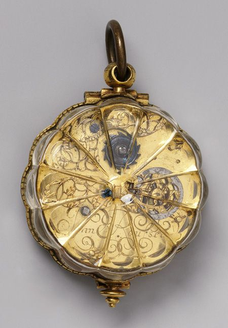 Watch, ca. 1650-60  Movement by Jean Rousseau the Younger (Swiss, 1606-1684)  Case: rock crystal mounted in gilded brass; Dial: silver, with single gilded brass hand; Movement: gilded brass and steel, partly blued