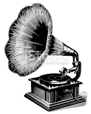 Gramophone | Antique Musical Illustrations Royalty Free Stock Vector Art Illustration