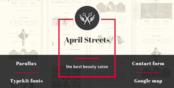 April Streets- Hair, Spa, Manicure - Muse Template - Landing Muse Templates