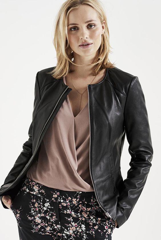 Soft Collarless Leather Jacket