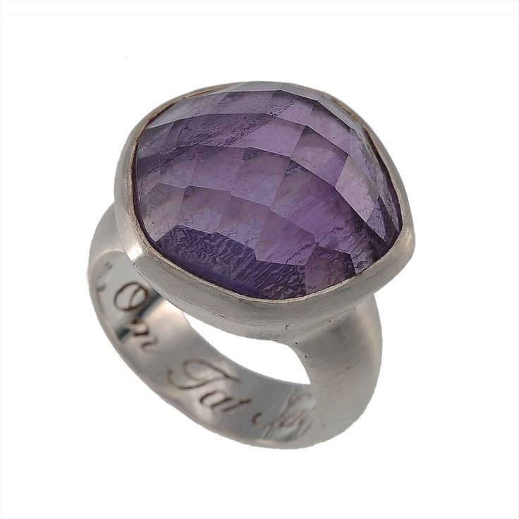 Om Tat Sat Ring in 925 Sterling Silver with Amethyst faceted stone.