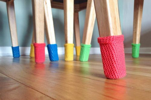 motleymakery:  Free Crochet Pattern:Colorful Chair Socks,From Wool Street Studio.