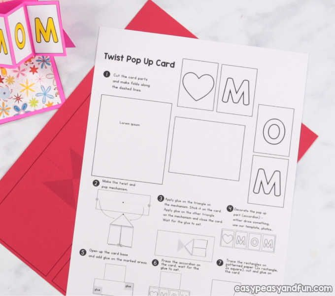 Twist And Pop Mother S Day Card Mothers Day Card Template Pop Up Card Templates Cards