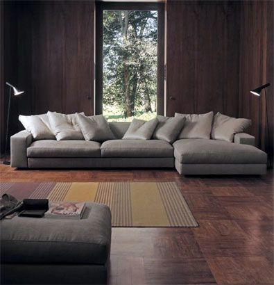 Media room bed idea - this sofa is available as a lounge only piece (like the right side  but with no arm) that could be used as an option for the media room