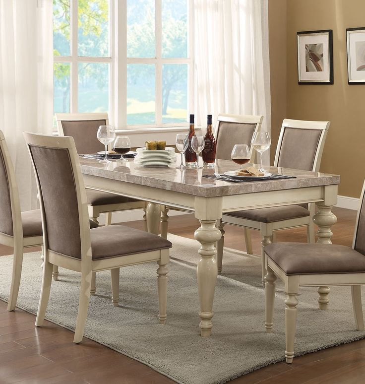 Acme 71705 Ryder Antique White Marble Top Dining Table