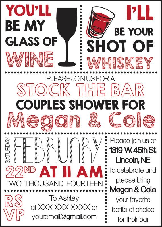 Stock The Bar Couples Shower Invite by CWesterbuhr on Etsy, $10.00
